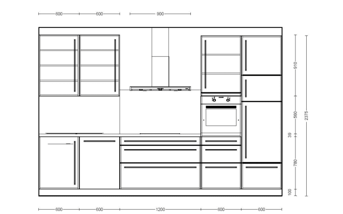 Einbauküche Monaco in Esche Perlmutt-Optik