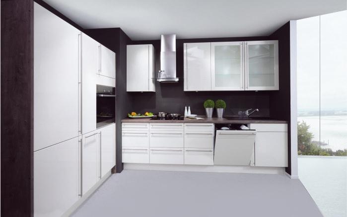 Einbauküche Lux in magnolia Hochglanz, Miele-Geschirrspüler