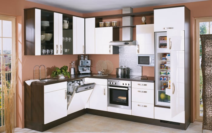 Einbauküche Focus in weiß Lack, Progress Geschirrspüler PV1546