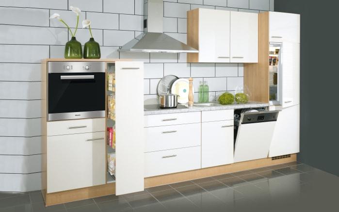 Einbauküche Nobilia in weiß Hochglanz, Steinspüle