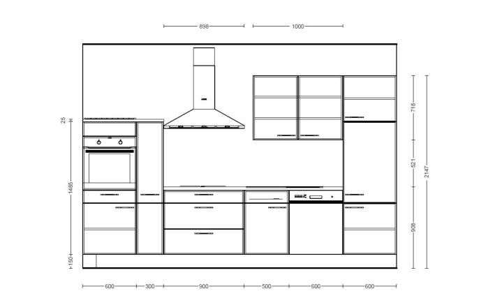 Einbauküche Focus, Lack magnolia Hochglanz, inklusive Elektrogeräte-06