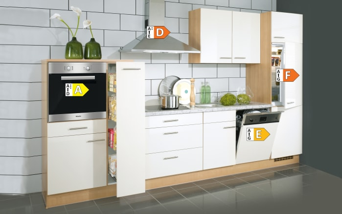 Einbauküche Focus, Lack magnolia Hochglanz, inklusive Elektrogeräte-04