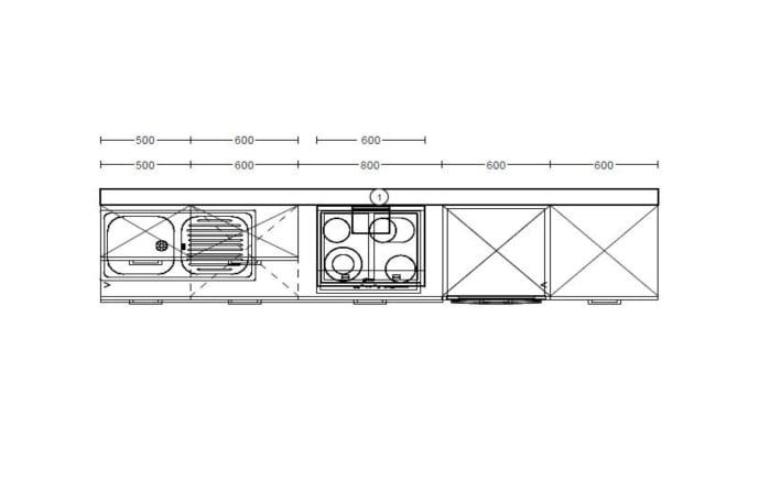 Einbauküche Riva in grau, Neff-Geschirrspüler GV1400A