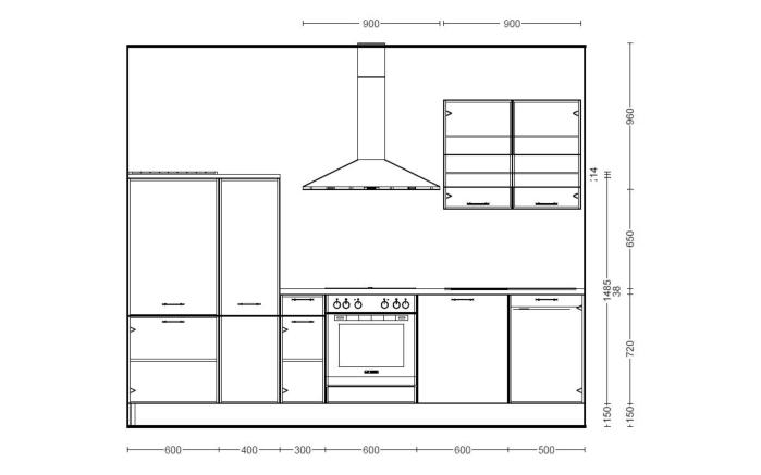 Einbauküche Focus in Lack weiß, Leonard Geschirrspüler LV1526