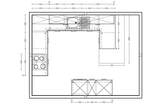 Einbauküche Structura in Halifax Eiche-Optik, Bauknecht-Geschirrspüler BRIE2B19X