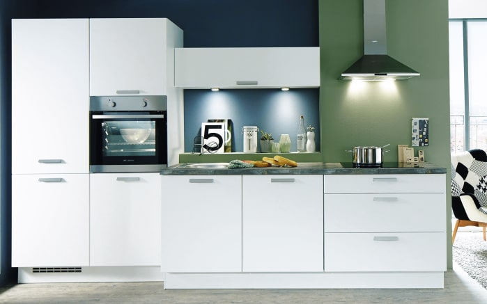 Einbauküche Fashion in alpinweiß Lack, Siemens-Geschirrspüler SN614X00AE