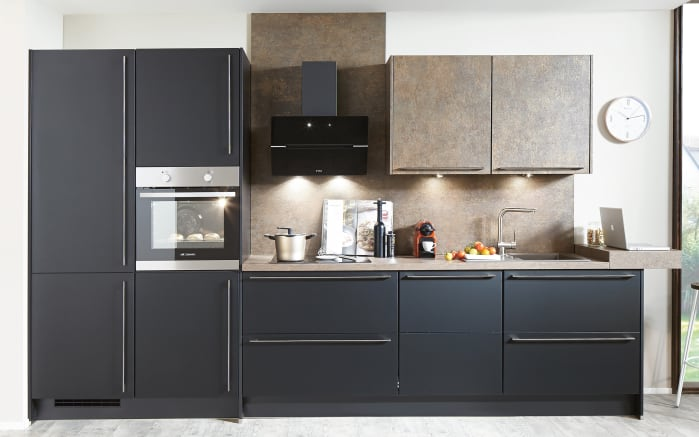 Einbauküche Touch, Lacklaminat supermatt schwarz, inklusive Elektrogeräte-01