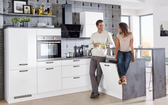 Marken-Einbauküche Focus in alpinweiß, Zanussi-Geschirrspüler