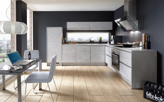 Marken-Einbauküche Riva in Beton grau Nachbildung
