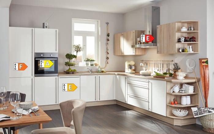Einbauküche Flash, Hochglanz Lacklaminat magnolia, inklusive Elektrogeräte-05