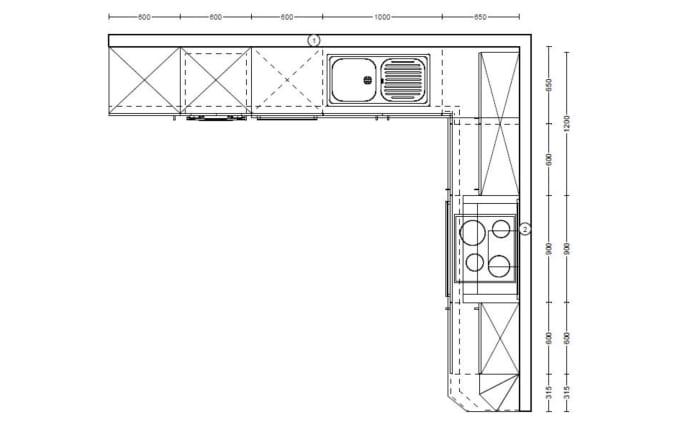 Marken-Einbauküche Flash in magnolia, Siemens-Geschirrspüler SN614X00AE