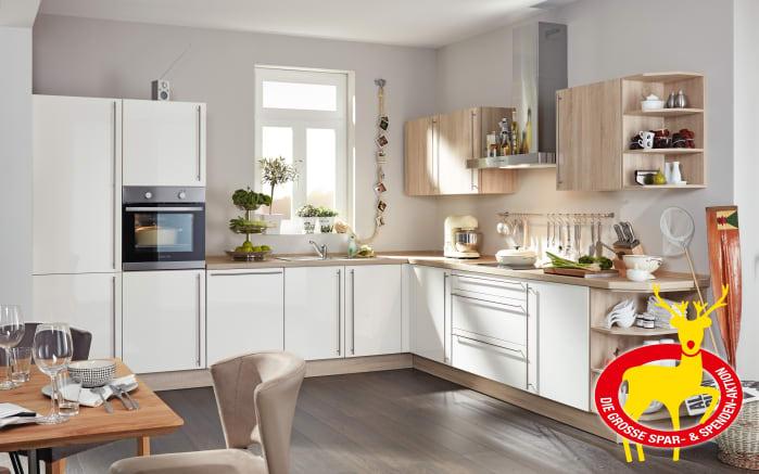 Marken-Einbauküche Flash in magnolia, Siemens-Geschirrspüler