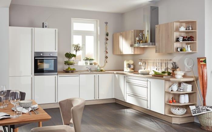 Marken-Einbauküche Flash in magnolia, Privileg-Geschirrspüler