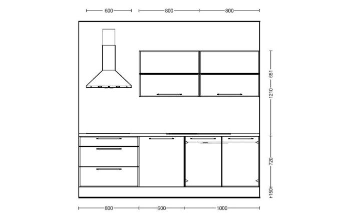 Marken-Einbauküche Riva in Weißbeton-Optik, Leonard-Geschirrspüler