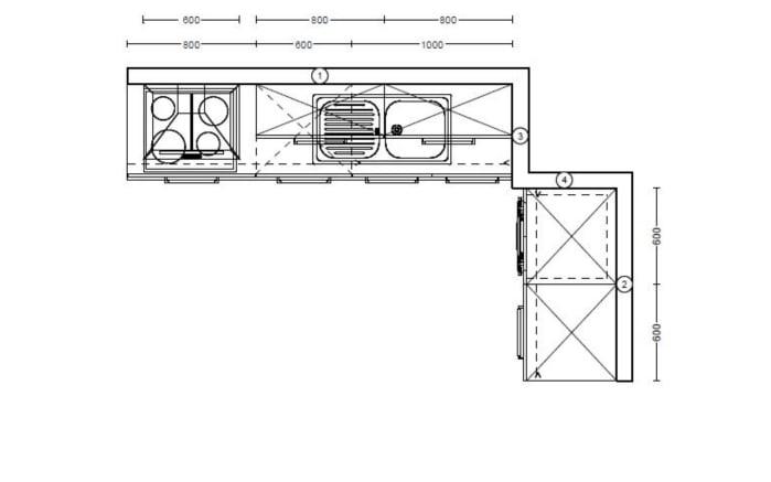 Einbauküche Riva, Weißbeton Nachbildung, inklusive Elektrogeräte-08