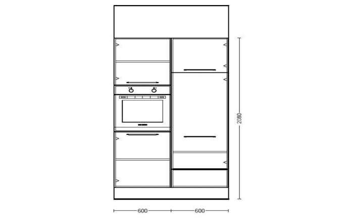 Marken-Einbauküche Riva in Weißbeton-Optik, Leonard Elektrogeräte