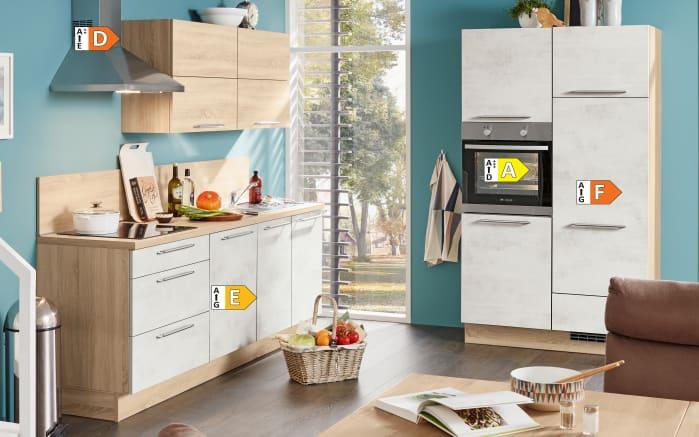 Einbauküche Riva, Weißbeton Nachbildung, inklusive Elektrogeräte-05