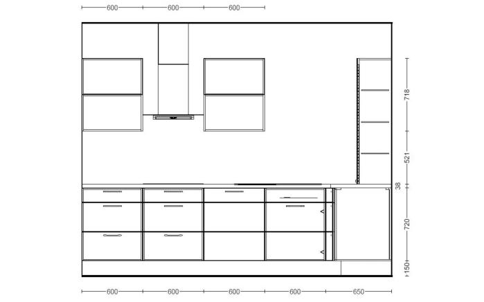 Einbauküche Riva in Beton-Schiefergrau, Miele G4380 VIED Geschirrspüler