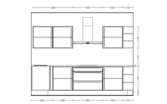 Einbauküche Focus 470 in alpinweiß, Miele-Geschirrspüler