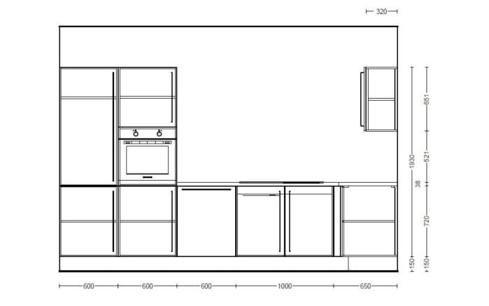Einbauküche Focus 470 in alpinweiß, Leonard-Geschirrspüler