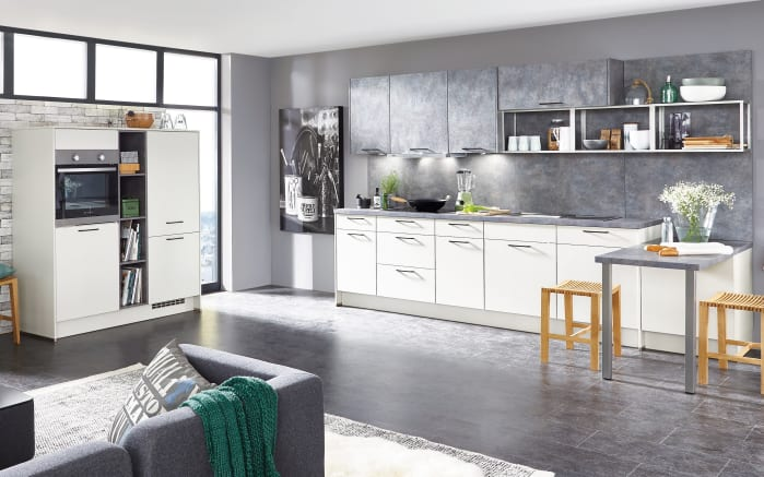 Einbauküche Touch alpinweiß seidenmatt, Leonard-Geschirrspüler