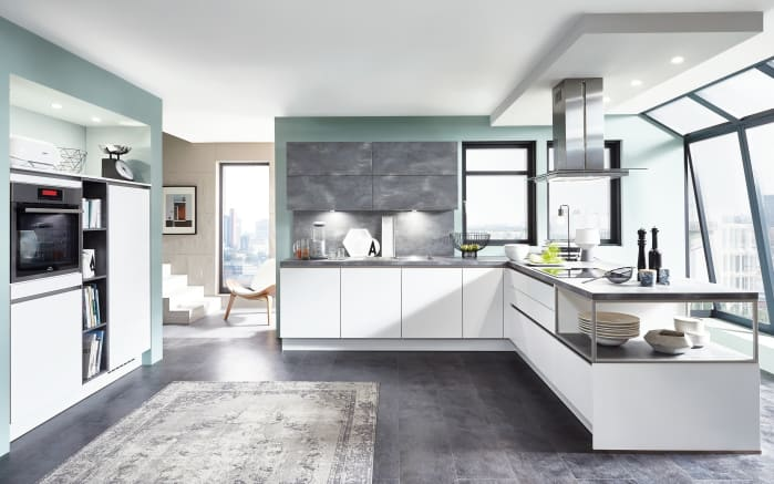 Einbauküche Fashion, alpinweiß, inklusive Elektrogeräte, inklusive AEG Geschirrspüler-01
