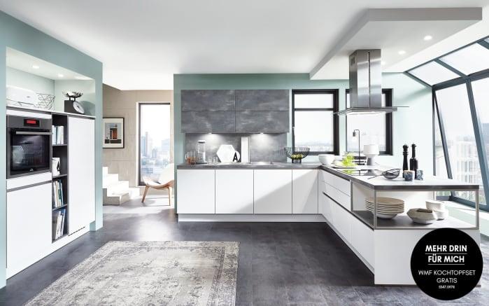 Einbauküche Fashion in alpinweiß, Siemens-Geschirrspüler