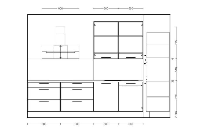 Einbauküche Speed 244 in alpinweiß, AEG-Geschirrspüler