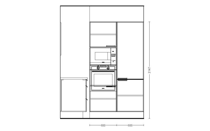 Einbauküche Focus in Ultrahochglanz alpinweiß, AEG-Geschirrspüler