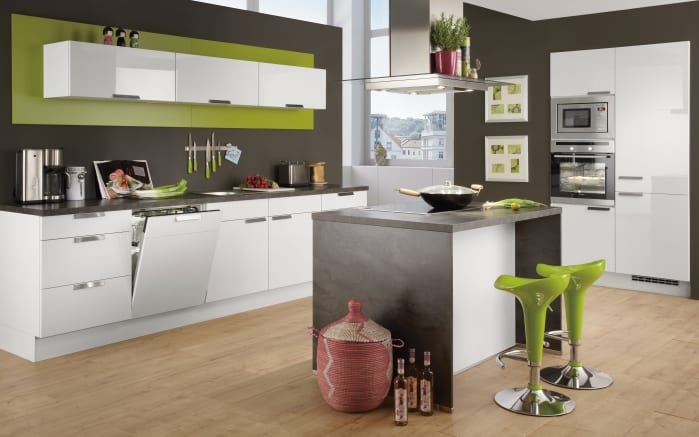 Einbauküche Focus in Ultrahochglanz alpinweiß, Bauknecht-Geschirrspüler