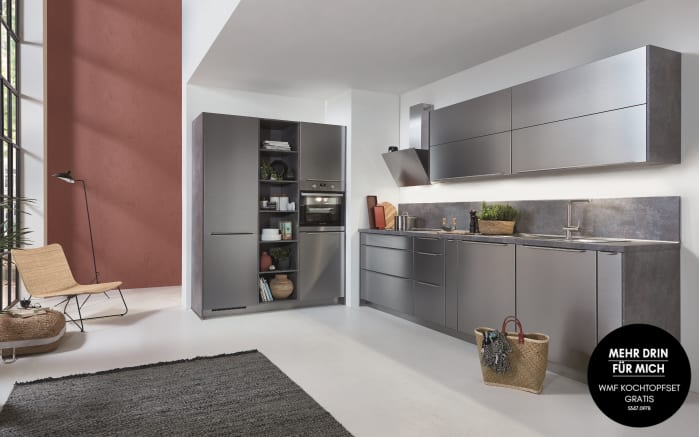 Einbauküche Inox in Stahl, Siemens-Geschirrspüler SN614X00AE