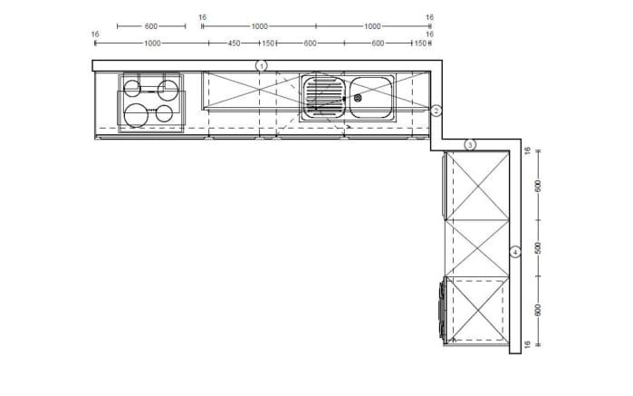 Einbauküche Inox in Stahl gebürstet, Leonard-Geschirrspüler LV1526