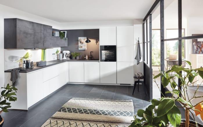 Einbauküche Fashion in Lack weiß, Privileg Geschirrspüler RIE2C19