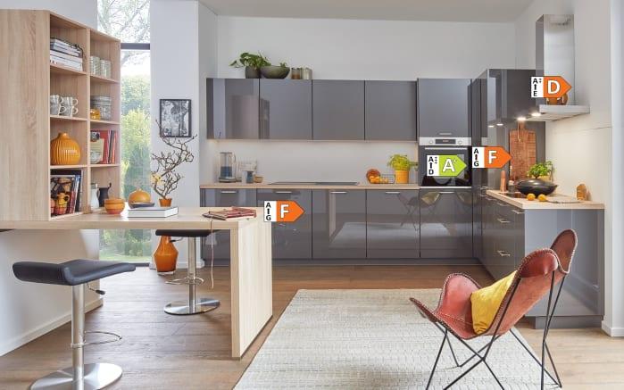 Einbauküche Flash, schiefergrau Hochglanz, inklusive Miele Backofen, inklusive Elektrogeräte-03