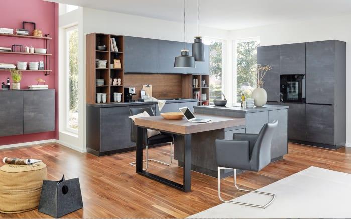 Einbauküche Flash, schwarzbeton, inklusive Elektrogeräte