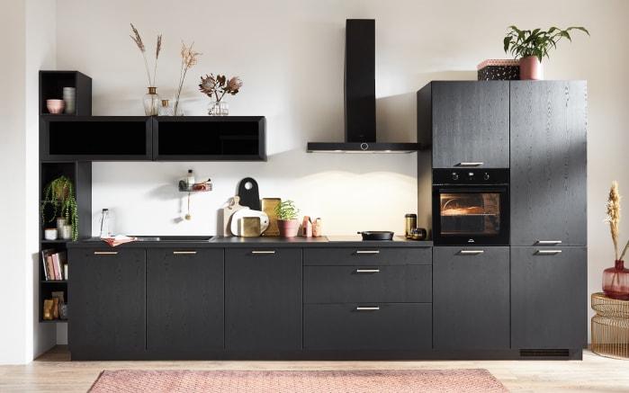 Einbauküche Structura, schwarz, inklusive Elektrogeräte, inklusive Siemens Geschirrspüler-01