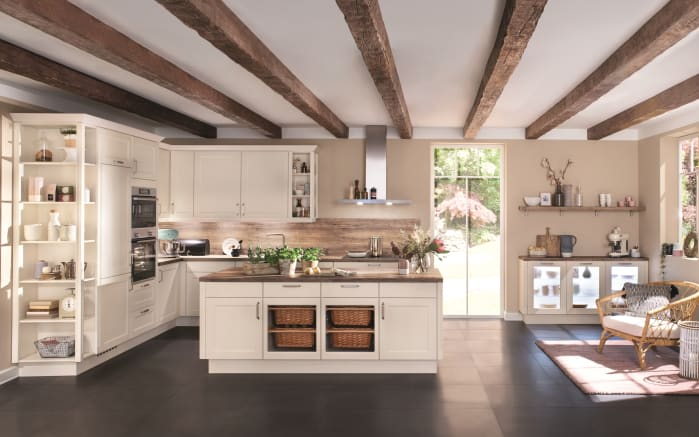 Einbauküche Chalet, magnolia matt, inklusive Siemens Elektrogeräte-01
