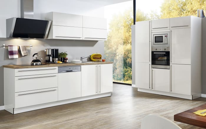 Einbauküche Nova Lack in Hochglanz weiß, Siemens-Geschirrspüler