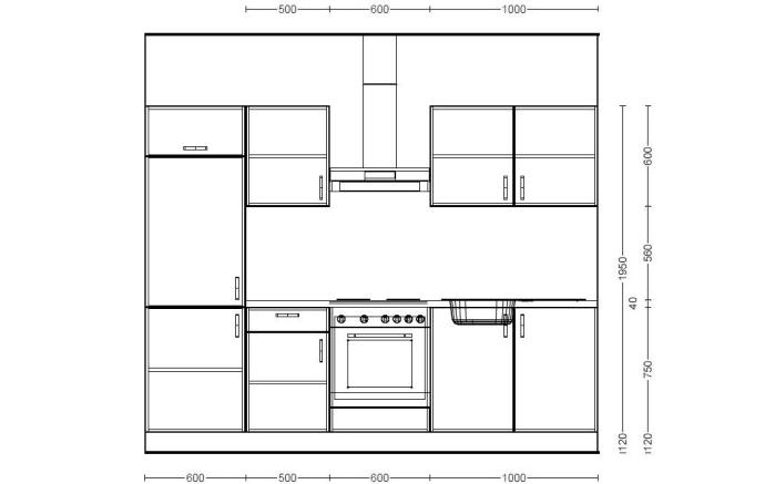 Einbauküche Plan in Eiche weiß