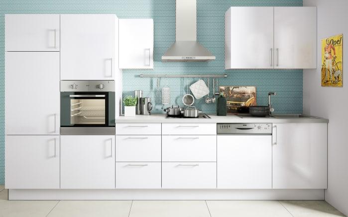 Marken-Einbauküche Cristall in weiß, Siemens-Geschirrspüler und Steinspüle