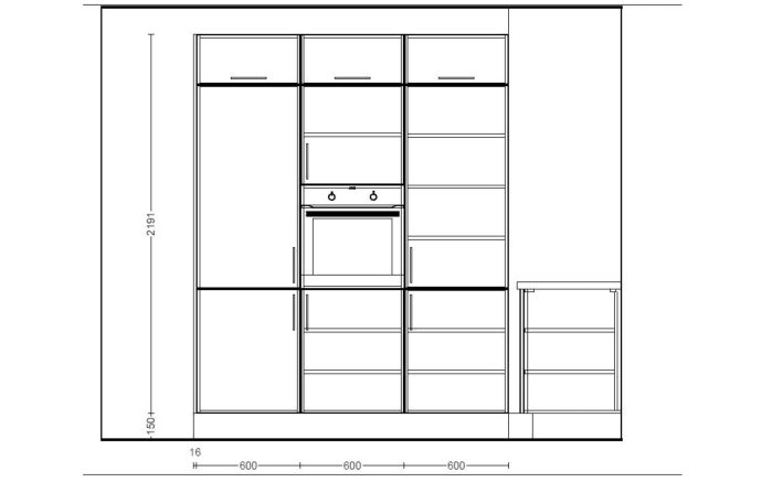 Einbauküche Toronto in Alteiche-Optik, AEG-Geschirrspüler