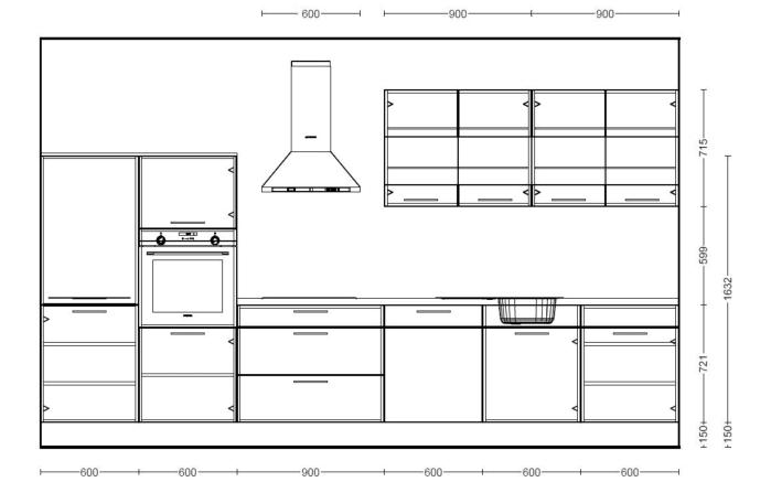 Einbauküche Uno, weiß, inklusive Bauknecht Elektrogeräte -05