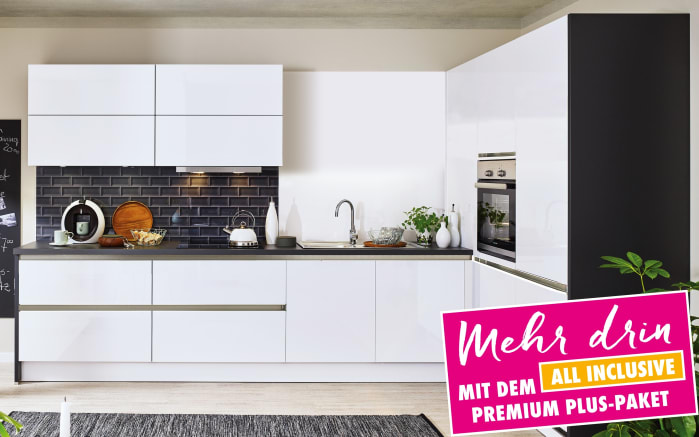 Einbauküche Cristall in Hochglanz weiß, Siemens-Geschirrspüler