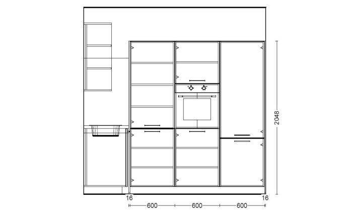 Einbauküche Steel MAX metall hell Optik, H-Tech-Geschirrspüler HTG26250