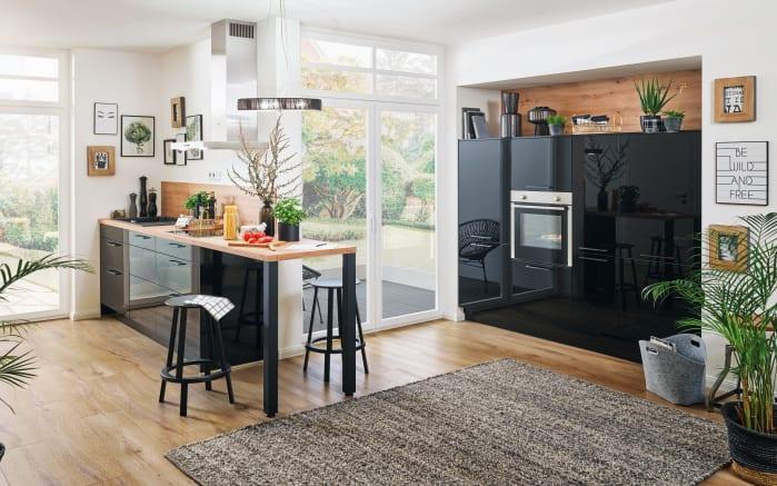 Einbauküche Cristall, schwarz Hochglanz, inklusive Privileg Elektrogeräte