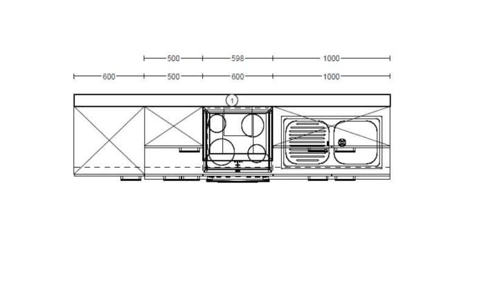 Einbaukueche IP1200 in Beton-Optik, Vestel Kühlschrank