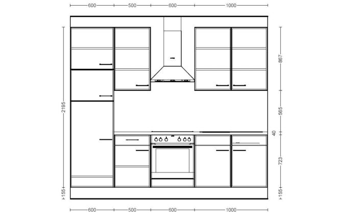 Einbaukueche IP1200 in Beton-Optik, AEG Kühlschrank