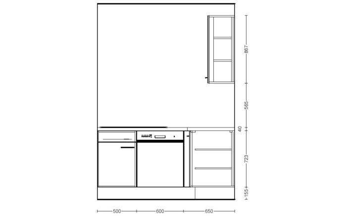Einbauküche IP1200 in weiß, Vestel Geschirrspüler GSVI60D13A