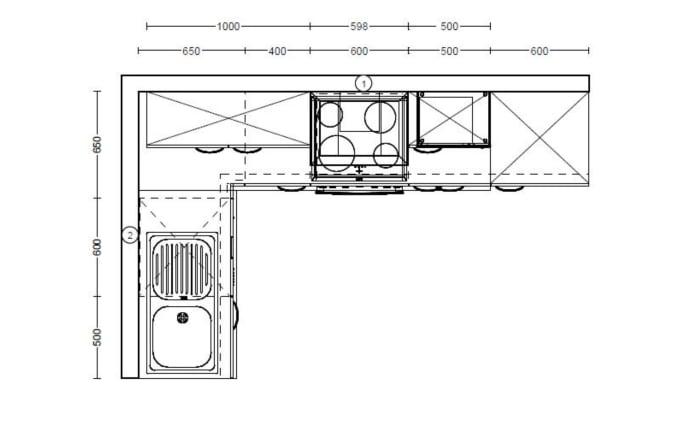 Einbauküche IP 1200 in kieselgrau, Privileg Geschirrspüler RBC3B19X