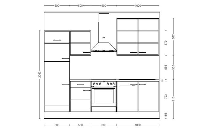 Einbauküche  IP1200 in graphit, AEG Kühlschrank